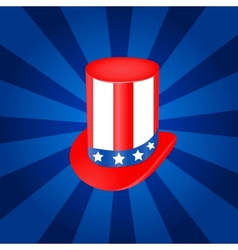 Top hat in USA flag color vector image