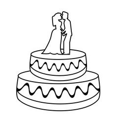 wedding cake couple dessert outline vector image vector image