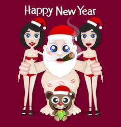 santa claus and girls vector image