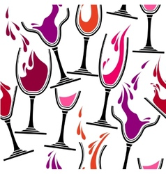 Seamless pattern with glasses of wine vector image vector image