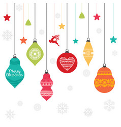 a set of christmas balls with ornaments vector image