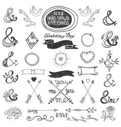 Hand drawing lettering ampersands set Wedding vector image