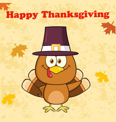 happy thanksgiving greeting with pilgrim turkey vector image