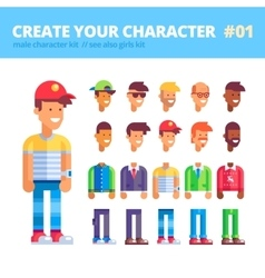 Male character creation set Flat vector image vector image