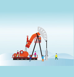 oil pump with oil worker vector image vector image