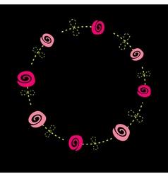 Roses with dash line stalks Flower frame vector image vector image