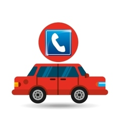 telephone road sign sedan red vector image