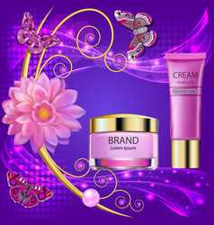 cosmetic background with cream flower and vector image