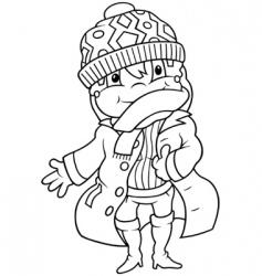 girl in winter dress vector image vector image