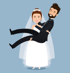 just married couple bride carries groom in the vector image