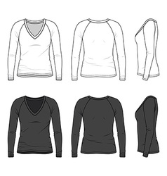 V-neck tee with raglan sleeve vector image vector image