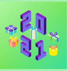 2021 new year presents vector image