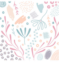 abstract hand drawn scribble organic shape floral vector image