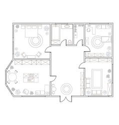 abstract plan of two-bedroom apartment vector image