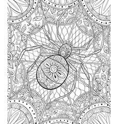 adult coloring bookpage a cute spider on the vector image