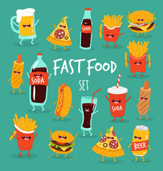 Animated fast food set vector