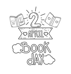 april 2 book day message with ribbon vector image