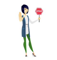 Asian business woman holding stop road sign vector