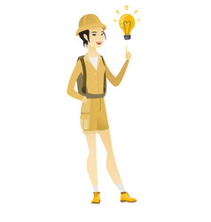 Asian traveler pointing at idea light bulb vector