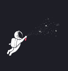 Astronaut sprays stars and planets vector