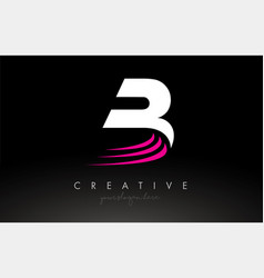 B white and pink swoosh letter logo letter design vector