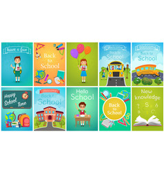 Back to school card template banners set school vector