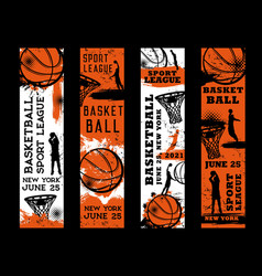 Basketball or streetball tournament grungy posters vector