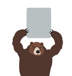 bear in the holding plate text vector image