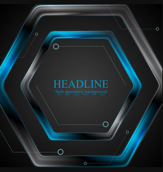 Black and blue metal hexagon tech drawing design vector