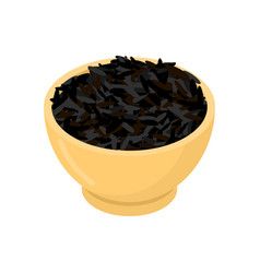 black rice in wooden bowl isolated groats in wood vector image