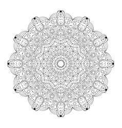 black white round abstract mandala with vector image
