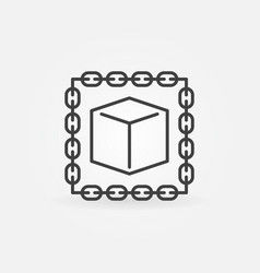 Blockchain with cube outline icon or logo vector