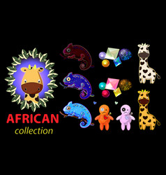 bright cartoon african theme elements vector image