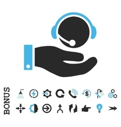 Call Center Service Flat Icon With Bonus vector image