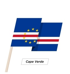 Cape Verde Ribbon Waving Flag Isolated on White vector image