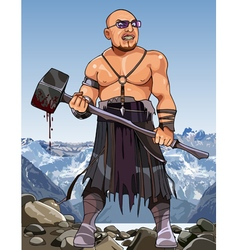 cartoon angry man modern viking with hammer vector image