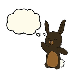 cartoon happy rabbit with thought bubble vector image
