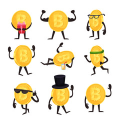 cartoon set of golden coin characters with bitcoin vector image