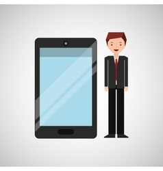 character businessman with smartphone shiny layer vector image