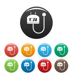 Charge vape set icons set color vector