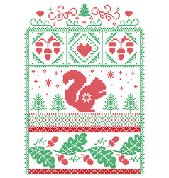 Christmas scandinavian pattern with squirell vector