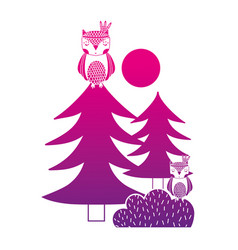color silhouette ethnic owls animals with pine vector image