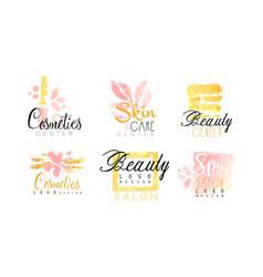 cosmetics center logo design collection spa skin vector image