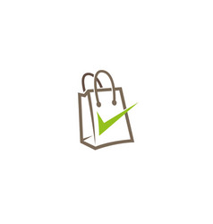 creative abstract shopping bag check logo design vector image