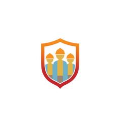 creative three builder shield logo design symbol vector image
