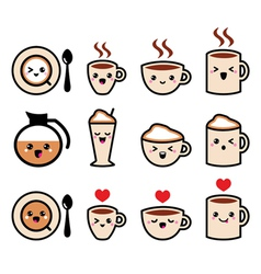 Cute coffee cappuccino and espresso kawaii icon vector image