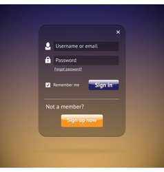 Dark login form vector image