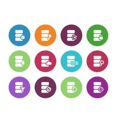 Database circle icons on white background vector