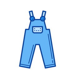 denim overall line icon vector image