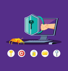 desktop computer with icons cyber security vector image